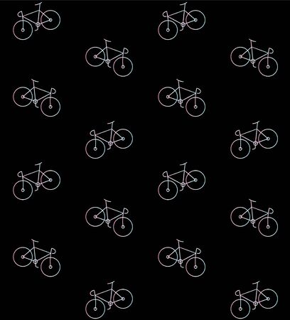 Vector seamless pattern of holographic line bicycle isolated on black background