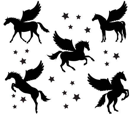 Wektor płaski czarny zestaw kolekcja Pegasus sylwetka różne pozy na białym tle