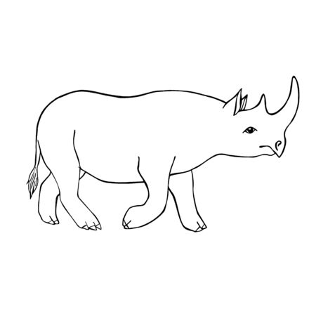 Vector black outline hand drawn sketch doodle rhino rhinoceros isolated on white background Illustration