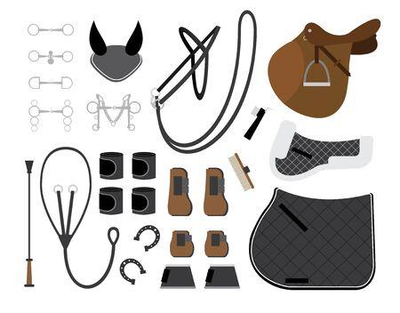Insieme del fumetto piatto vettoriale di attrezzatura per l'equitazione e l'attrezzatura per l'equitazione e il salto ostacoli isolato su sfondo bianco