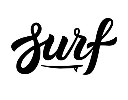 Vector black hand drawn surf  lettering with board isolated on white background