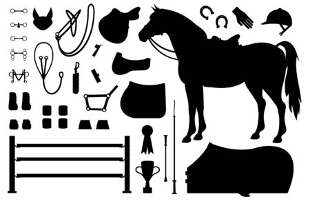 Vector flat black set collection of horse equestrian equipment silhouette isolated on white background Çizim