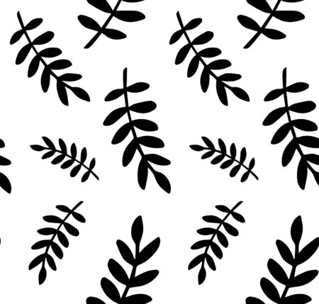 Vector seamless pattern of black Scandinavian floral leaves isolated on white background