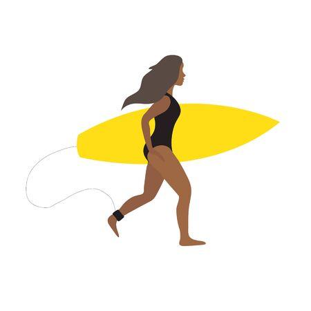 Vector flache Karikatur einfaches junges dunkles afrikanisches Surferfrauenmädchen mit dem Surfbrett, das lokalisiert auf weißem Hintergrund läuft