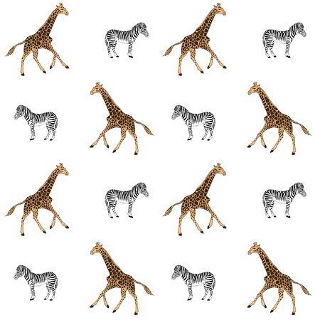 Vector seamless pattern of black line hand drawn giraffe and zebra isolated on white background Векторная Иллюстрация