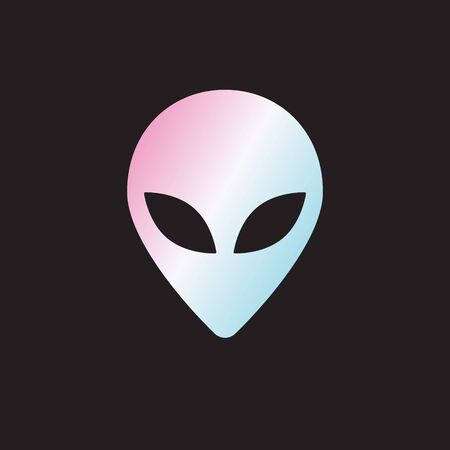 Vector flat holographic alien face icon   isolated on black background