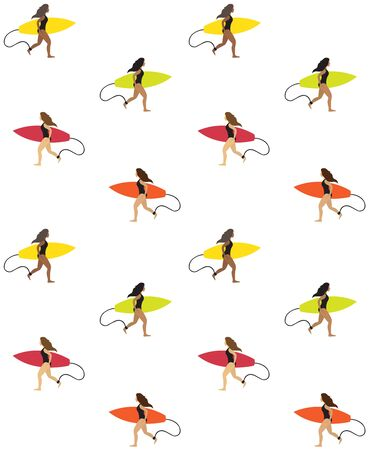 Vector seamless pattern of flat cartoon simple surfer girl running with surf board isolated on white background
