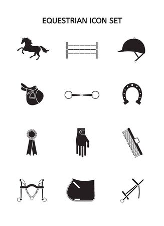 Vector set collection of black silhouette horse and equestrian equipment icon isolated on white background