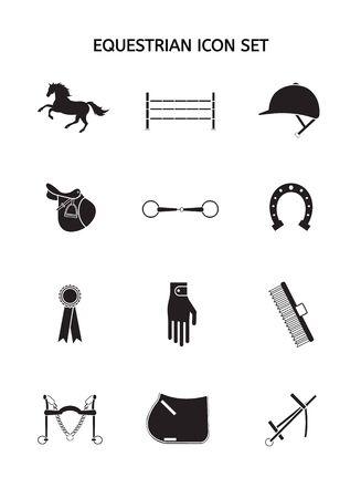 Vector Set Sammlung von schwarzen Silhouette Pferd und Reitausrüstung Symbol auf weißem Hintergrund