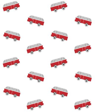 Vector seamless pattern of red flat surf van bus isolated on white background