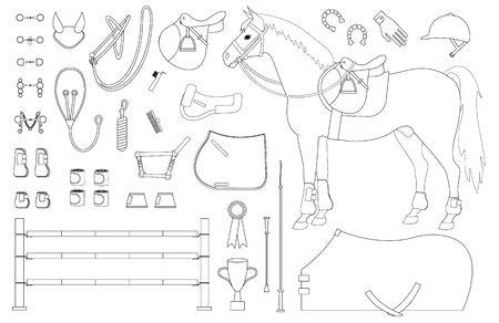 Insieme di contorno piatto vettoriale di attrezzature per sport equestri a cavallo isolato su sfondo bianco