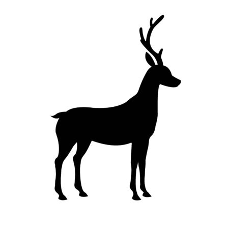Vector black flat silhouette of standing deer  icon isolated on white background