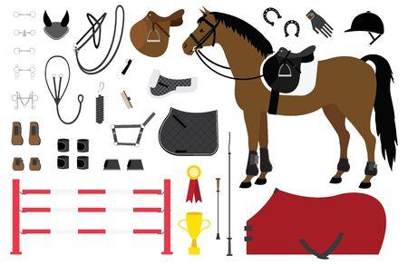 Insieme piano del fumetto di vettore dell'attrezzatura di sport equestre di equitazione isolata su fondo bianco Vettoriali