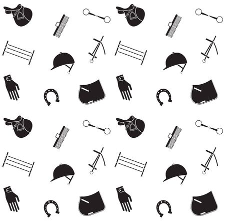 Vector seamless pattern of horse riding equestrian equipment isolated on white background 向量圖像