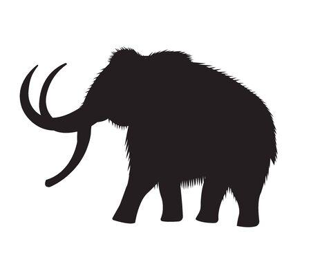 Vector black flat mammoth elephant silhouette icon isolated on white background Ilustração