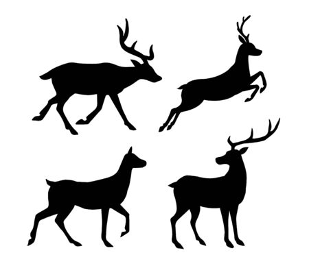 Vector set collection of flat black silhouette of deer isolated on white background 向量圖像