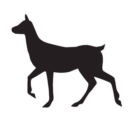 Vector black silhouette of female deer isolated on white background