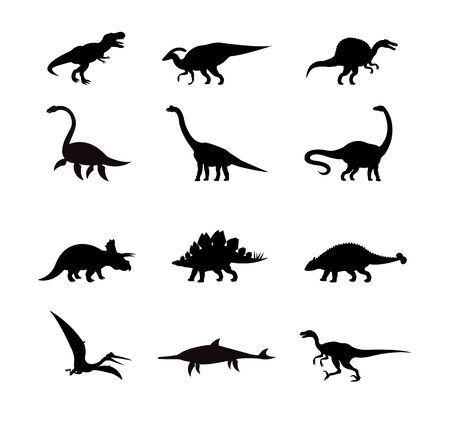 Vector black set collection of dinosaur silhouette isolated on white background Çizim
