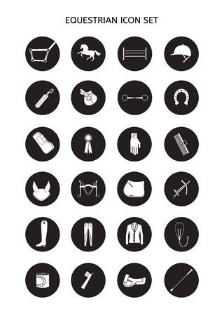 Vector flat black set collection of round equestrian horse equipment icon isolated on white background 向量圖像