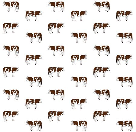 Vector seamless pattern of brown hand drawn  cow isolated on white background