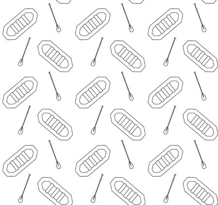 Vector seamless pattern of black outline rafting boat and paddle isolated on white background