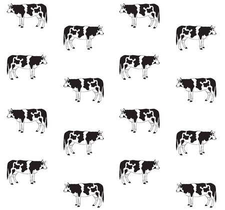 Vector seamless pattern of hand drawn sketch cow isolated on white background Illustration