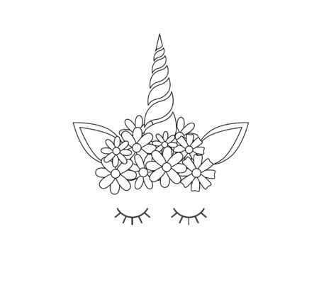 Vector flat cartoon line contour drawn unicorn face with flowers icon isolated on white background Stockfoto - 129387440