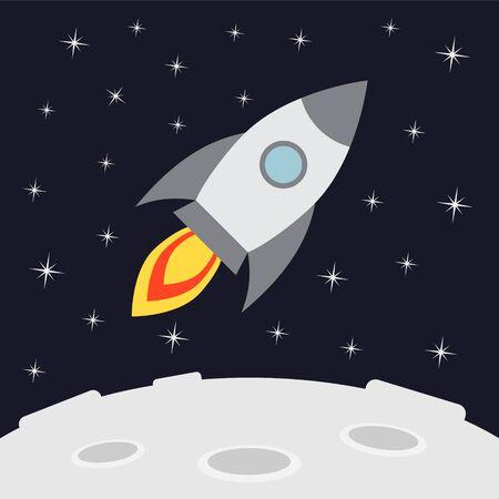 Fusée de dessin animé plat de vecteur volant dans l'espace isolé sur fond noir avec des étoiles