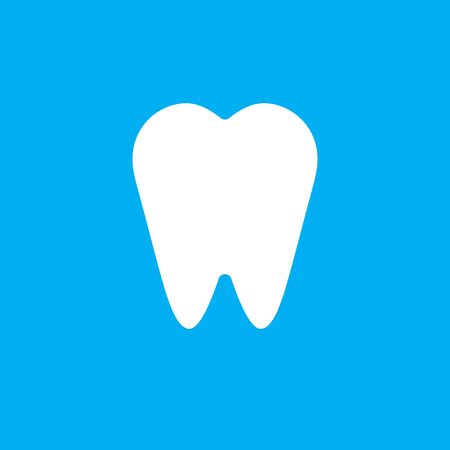Vector white flat tooth icon isolated on blue background