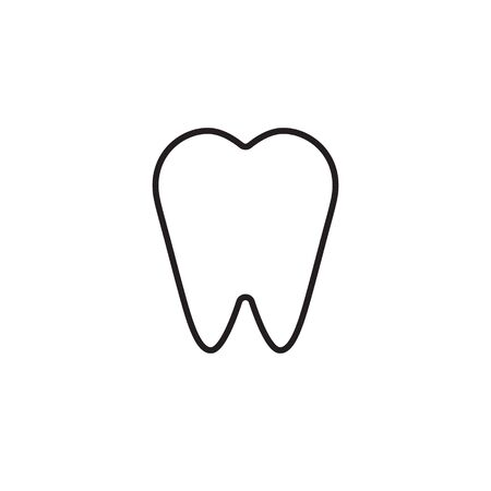 Vector outline flat tooth icon isolated on white background