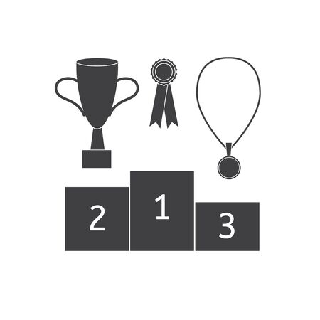 Vector flat black set collection of sport winning icon isolated on white background