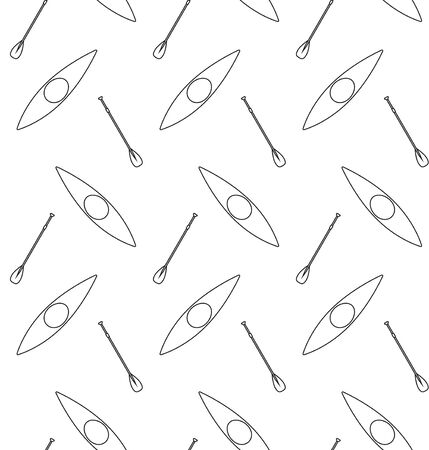 Vector seamless pattern of outline canoe boat and paddle isolated on white background