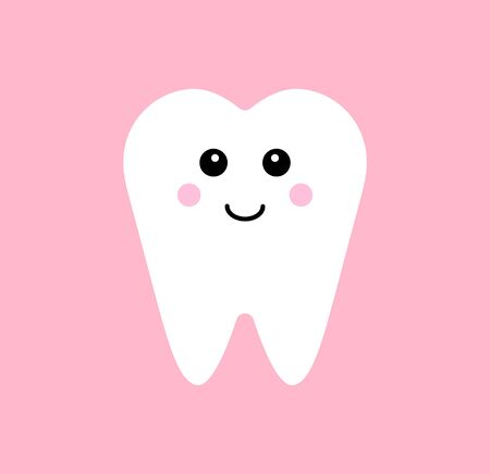 Vector flat kawaii tooth isolated on white background