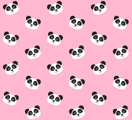 Vector seamless pattern of flat kawaii panda face isolated on pastel pink background