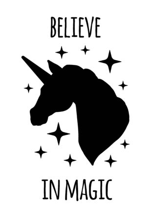 Vector unicorn silhouette with quote card isolated on white background. Believe in magic lettering