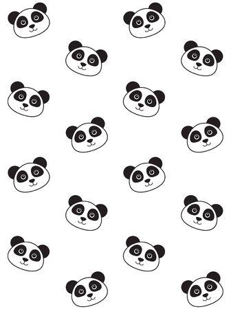 Vector seamless pattern of flat cartoon kawaii panda face isolated on white background