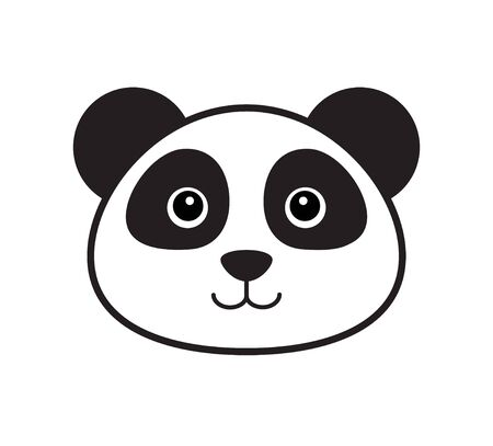 Vector flat outline panda face icon isolated on white background