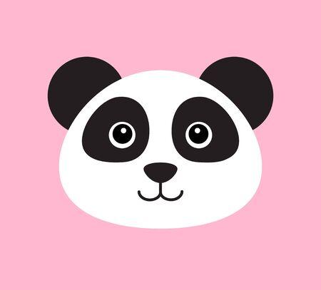 Vector flat cartoon panda face isolated on pink background Ilustração