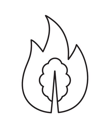 Vector black outline forest fire icon isolated on white background  イラスト・ベクター素材