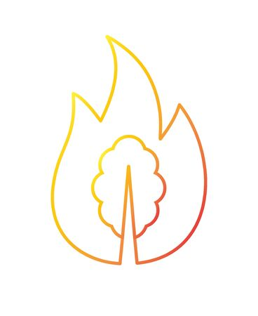 Vector orange gradient outline forest fire icon isolated on white background