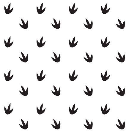 Vector seamless pattern of dinosaur foot print steps isolated on white background Ilustração
