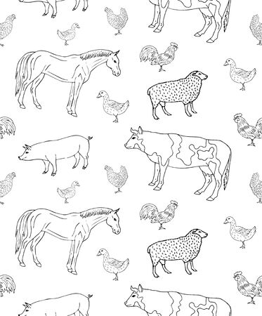 Vector seamless pattern of hand drawn sketch domestic animals isolated on white background