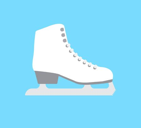 Vector flat cartoon classic white ice skate isolated on blue background