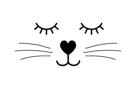 Vector flat cartoon black cat face isolated on white background Standard-Bild - 130089139