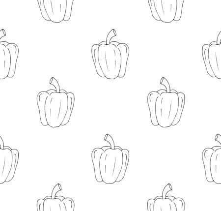 Vector seamless pattern of hand drawn sketch bell pepper isolated on white background