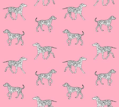 Vector seamless pattern of hand drawn sketch doodle Dalmatian dog isolated on pink background
