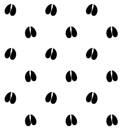 Vector seamless pattern of black cow deer or goat foot prints isolated on white background
