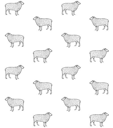 Vector seamless pattern of hand drawn sketch sheep isolated on white background Reklamní fotografie - 130783594