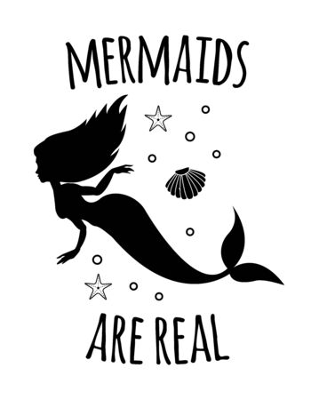 Vector black mermaid silhouette quote with sea elements isolated on white background. Mermaids are real lettering Çizim