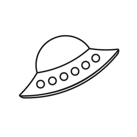 Vector flat black outline alien ufo icon isolated on white background